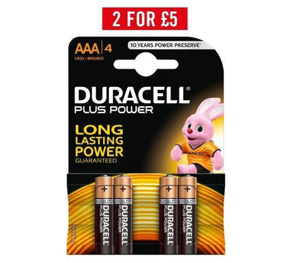 buy duracell plus power alkaline aaa batteries pack of 4. Black Bedroom Furniture Sets. Home Design Ideas