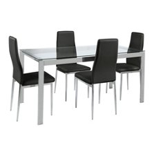 hygena pluto glass top dining table and 4 chairs black