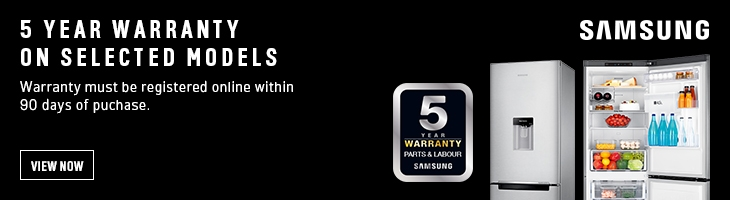 5 year warranty on selected Samsung models for a limited time!