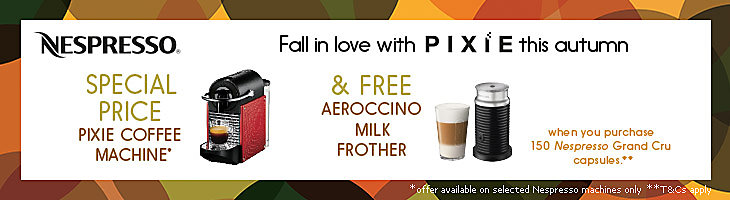 Special Price Nespresso Pixie Coffee Machine and a free aeroccino milk frother when you purchase 150 Grand Cru capsules direct from Nespresso.
