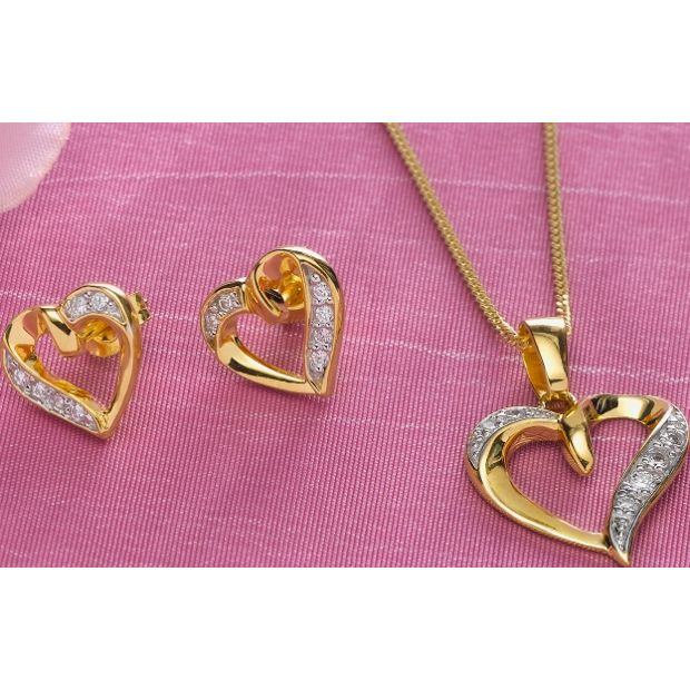 Buy 9ct Gold Plated Silver CZ Heart Pendant and Earrings
