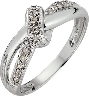 9ct White Gold 010ct tw Diamond Bow Fancy Ring