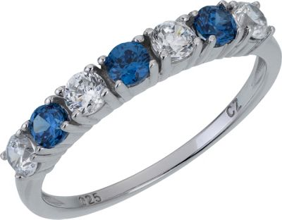 Sterling Silver Blue and White Cubic Zirconia Eternity Ring