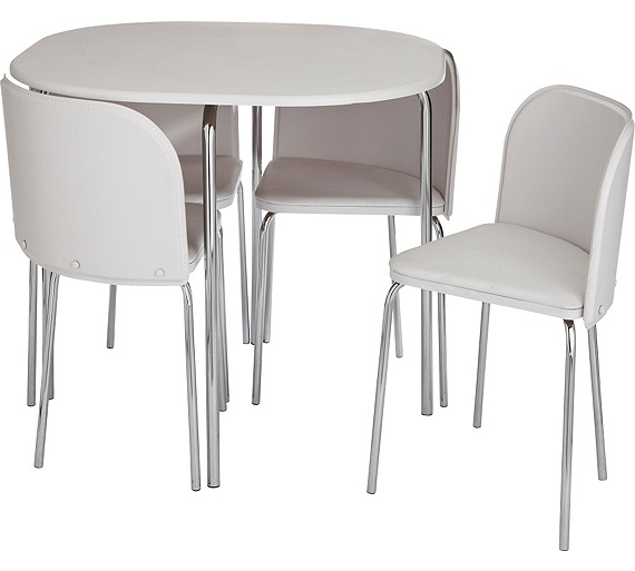 Buy hygena amparo dining table and 4 chairs white at for White dining table and 4 chairs