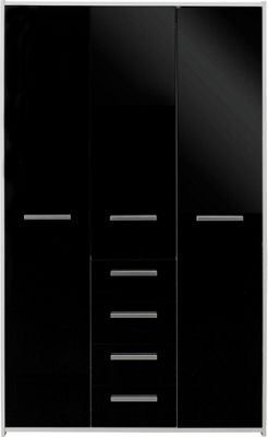 Buy HOME New Sywell 3 Door 4 Drw Wardrobe - White & Black ...