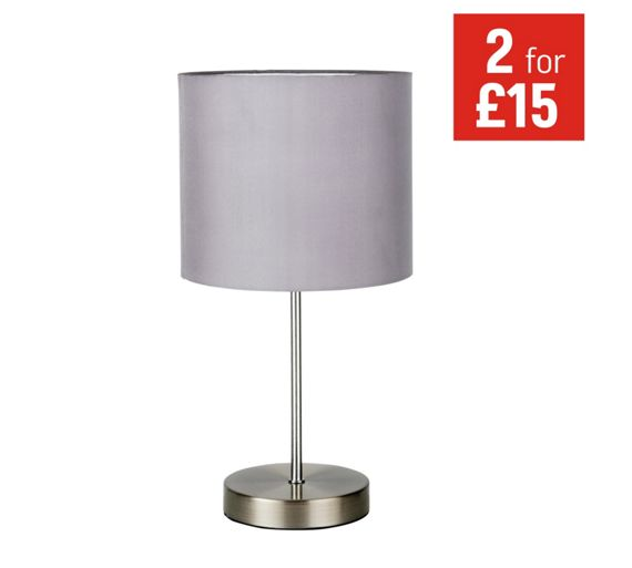 Buy colourmatch satin stick table lamp flint grey at for Table lamps argos