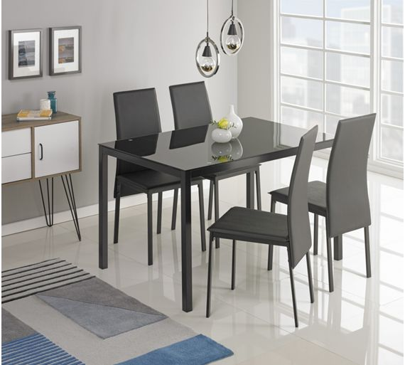 buy hygena lido glass dining table and 4 chairs black at