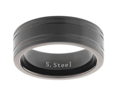 Stainless Steel Black 2 Groove Ring