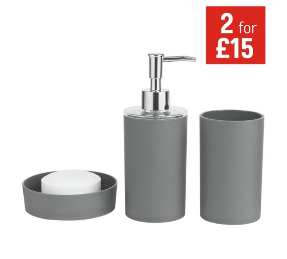 Buy colourmatch bathroom accessory set flint grey at for Grey bathroom accessories set