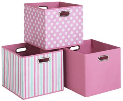 Pink Canvas Storage Boxes - 3 Pack