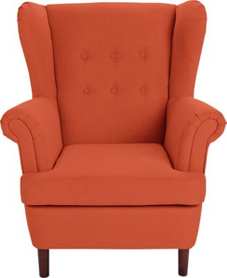 orange living room chairs buy collection martha fabric wingback chair burnt orange 13244
