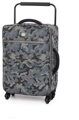 IT Luggage Cabin Quilted Camo Suitcase 4 Wheel - Grey