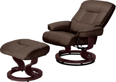 Santos Recliner Chair And Footstool Chocolate