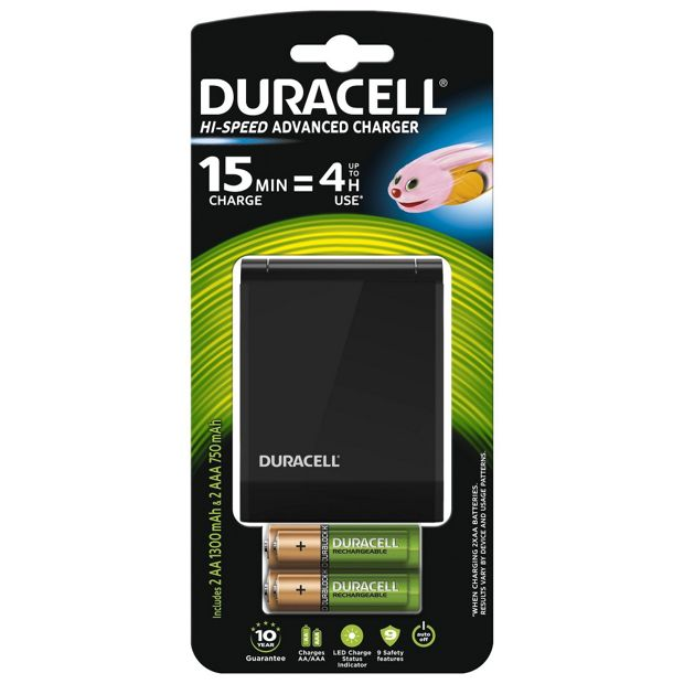 Buy Duracell 15 min AA/AAA Battery Charger, 2xAA&2xAAA